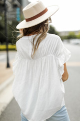 Ruffle Blouse in White Back View