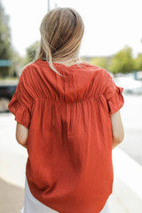 Ruffle Blouse in Rust Back View