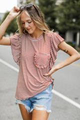 Rust - Striped Tee from Dress Up