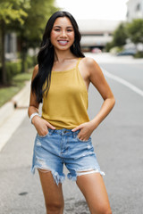 Knit Tank in Mustard Front View