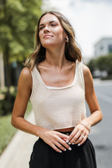 Crochet Knit Tank in Ivory Front View