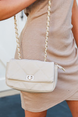 Ivory - Close Up of a Quilted Crossbody Bag