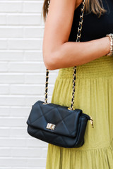 Quilted Crossbody Bag in Black on model