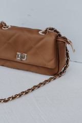 Close Up of a Quilted Crossbody Bag in Mocha