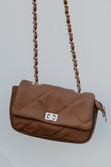 Quilted Crossbody Bag in Mocha Front View