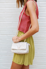 Quilted Crossbody Bag in Ivory Side View