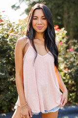 Blush - Everyday Ribbed Tank Front View