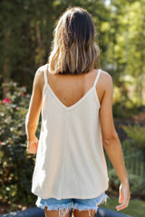 Everyday Ribbed Tank in Tan Back View