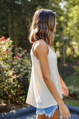 Everyday Ribbed Tank in Tan Side View