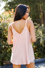 Everyday Ribbed Tank in Blush Back View