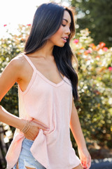 Everyday Ribbed Tank in Blush Side View