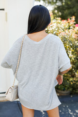 Knit Tee in Heather Grey Back View