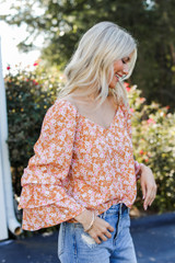 Floral Blouse Side View on model