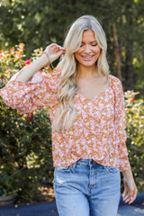Dress Up model wearing a Floral Blouse