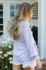 Flounce Sleeve Blouse in Lilac Side View