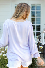 Flounce Sleeve Blouse in Lilac Back View