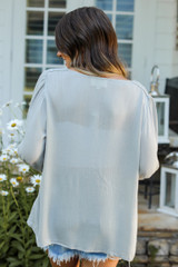Flounce Sleeve Blouse in Sage Back View