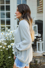 Flounce Sleeve Blouse in Sage Side View