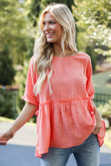 Coral - Linen Babydoll Top Front View