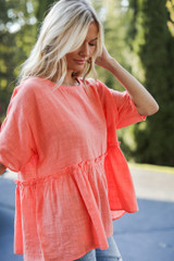 Coral - Linen Babydoll Top Front View on model