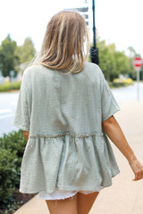Linen Babydoll Top in Sage Back View