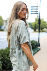 Linen Babydoll Top in Sage Side View