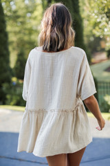 Linen Babydoll Top in Tan Back View
