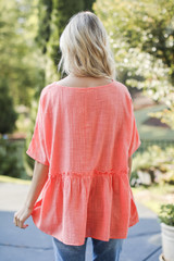 Linen Babydoll Top in Coral Back View