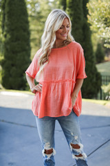 Linen Babydoll Top in Coral Front View