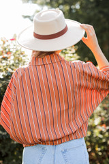 Striped Button Up Blouse Back View