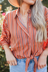 Close Up of a Striped Button Up Blouse