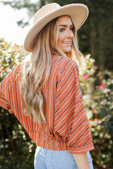Striped Button Up Blouse Side View