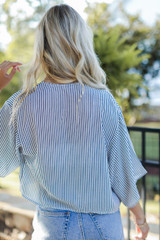 Striped Tie-Front Blouse Back View