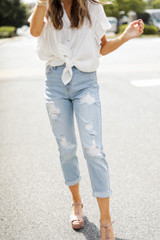 Model wearing High-Rise Mom Jeans