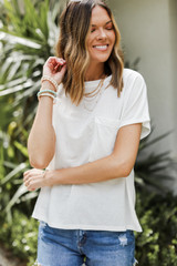Ivory - Dress Up model wearing a Relaxed Fit Pocket Tee