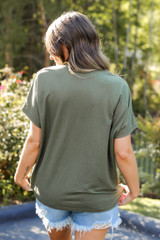 Relaxed Fit Pocket Tee in Olive Back View