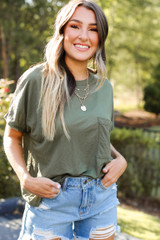 Relaxed Fit Pocket Tee in Olive Front View