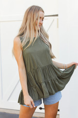 Olive - Model wearing a Tiered Tank