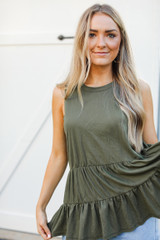 Olive - Dress Up model wearing a Tiered Tank