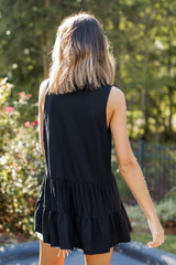 Tiered Tank in Black Back View
