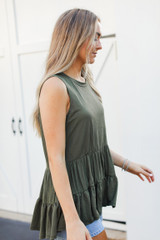 Tiered Tank in Olive Side View