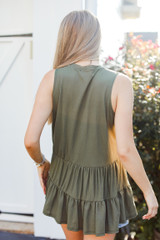 Tiered Tank in Olive Back View