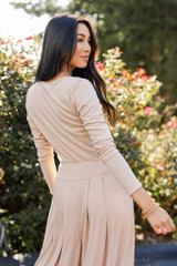 Ribbed Top in Taupe Back View