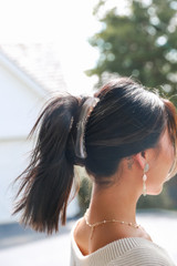 Clear - Model wearing a Claw Hair Clip