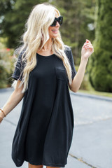 T-Shirt Dress in Black Front View