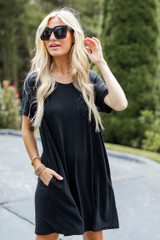 T-Shirt Dress in Black Front View on model