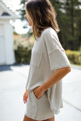 Waffle Knit Top in Sage Side View
