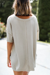 Waffle Knit Top in Sage Back View