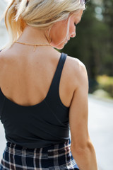Padded Sports Tank in Grey Back View