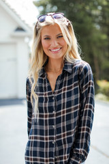 Flannel in Navy Front View